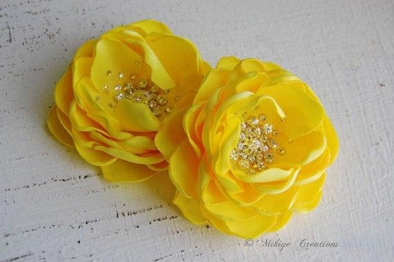 WeddingHair Flowers, Bridal Accessories,  Bridesmaid Hair Clips, 2 Piece Set - Vibrant Yellow Petals