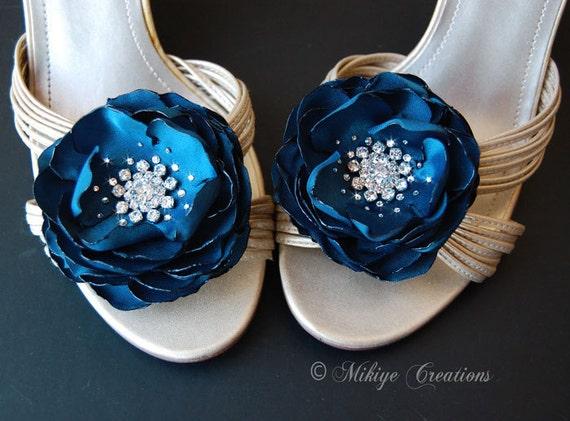 SALE - Wedding Bridal Bridesmaid Hair Flower,  Shoe Clips, Teal Sash Accessory,  2 Piece Set Peacock Teal Petals