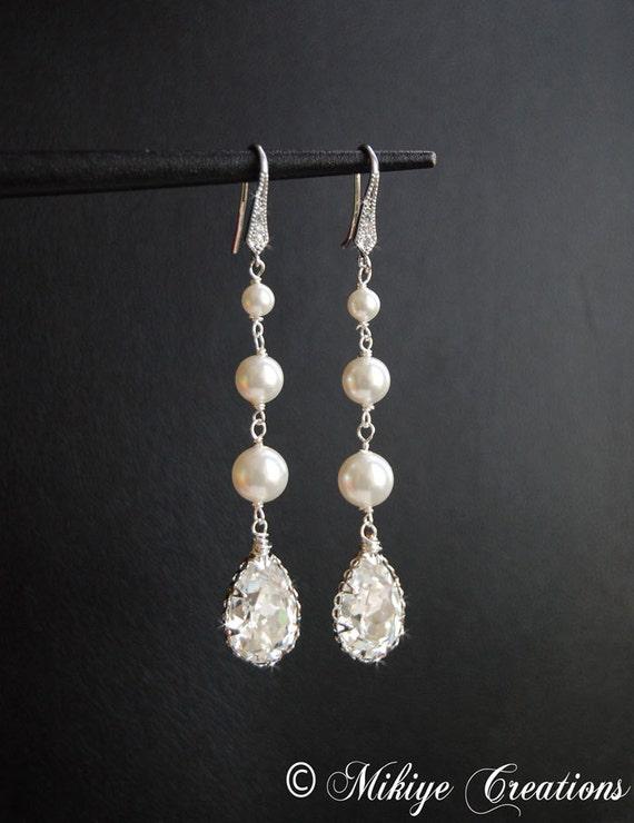 Bridal Chandelier Swarovski Crystal Pearl Cubic Zirconia Drop Earrings, Pearl Earrings, Wedding Jewelry - Glistening Samantha