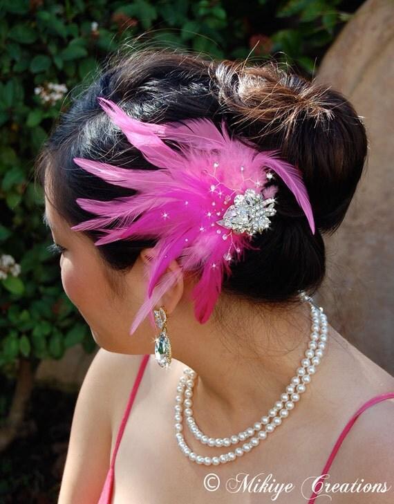 Wedding Hair Piece, Pink Feather Fascinator, Bridal Accessories, Wedding Hair Clip, Head Piece - Flirty Belinda