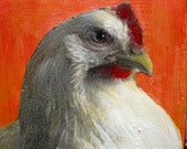 chicken white hen painting on canvas Violetta Funky original
