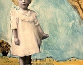 painting lovely vintage child in white original mixed media