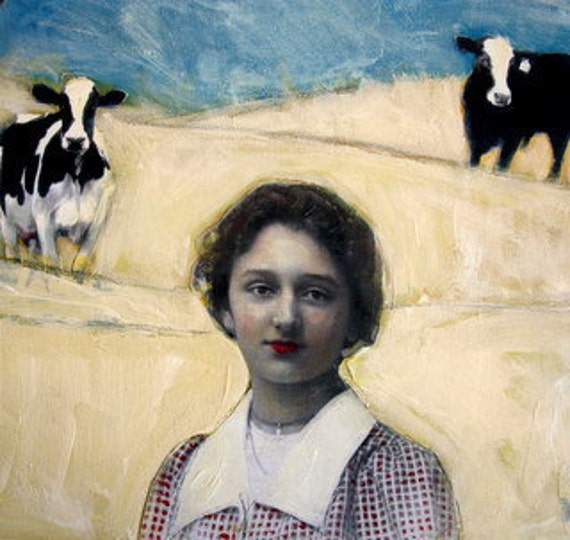 Lucille of the Holsteins original large country portrait landscape painting studio sale