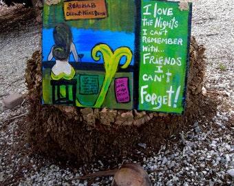 RhondaK Florida Folk Artist Original Mermaid at the Bar sign with MORE signs lots of fun