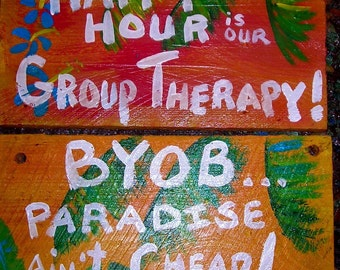 2fer-...2 bar signs by RhondaK ...Classics, super colorful tropical tiki bar gifts, shipping include in price
