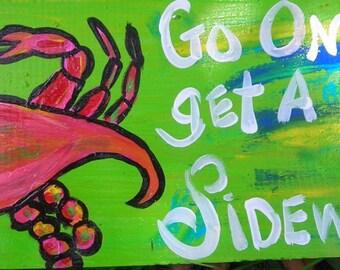 Florida Folk Artist RhondaK Funny CRAB Sign Beach DECOR