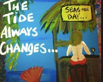 RhondaK Original Mermaid at Tiki Bar with Heart Tattoo and two sayings custom available