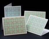 Pastel Diamonds, mini folded notes with handmade envelopes, set of 4 greeting cards