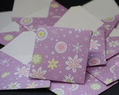 Fun Flowers, mini cards, folded notes with handmade pattern envelopes, set of 9 cards
