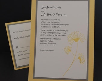 Pick Some Posies, hand stamped wedding invitation sample set