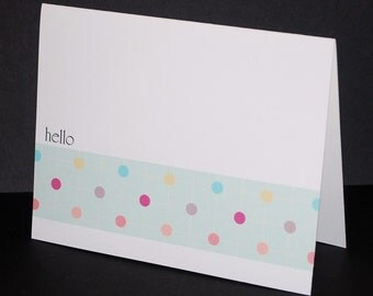 Dots, hello or personalized greeting cards, set of 6