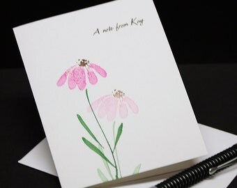 Coneflowers, hand stamped personalized note cards, set of 6