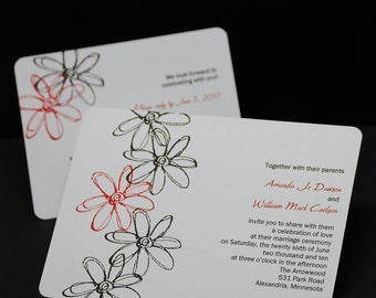 Touched By A Flower, hand stamped wedding invitation sample set