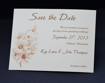 Save the Date cards, personalized, Autumn Daisies