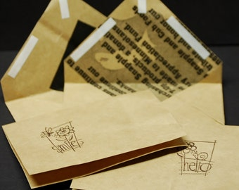 Upcycled Grocery Bag, set of 2 folded note cards and envelopes made with recycled grocery sack