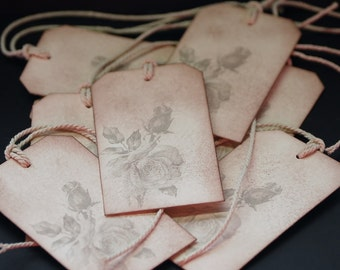 Large Rose With A Bud, floral gift tags, set of 8 hang tags