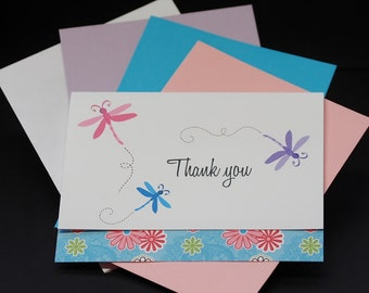 Colorful Dragonflies, thank you OR personalized custom note cards, set of 10 greeting cards