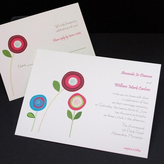 Big And Bright Mod Blossoms, wedding invitation sample set