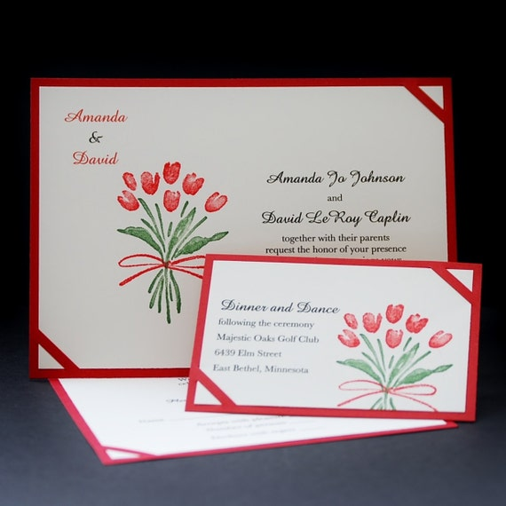 Items similar to Red Tulip Bouquet hand