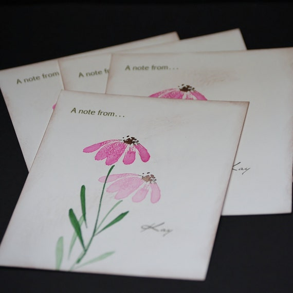 Bright Pink Coneflower postcards, personalized or customized, set of 12 flat cards