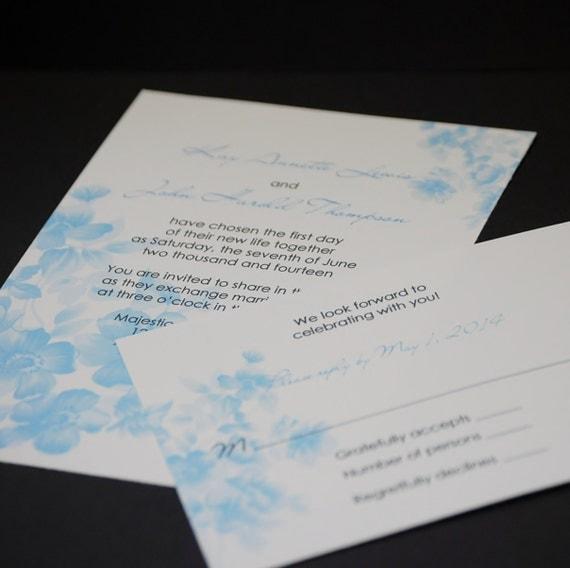 Watercolor Floral in Robin's Egg Blue, wedding invitation sample set
