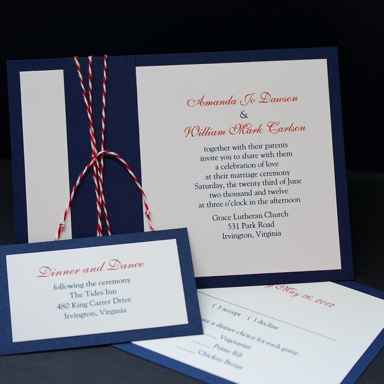 Navy Wedding Invitation: Nautical Navy Wedding Invitation Sample Set By