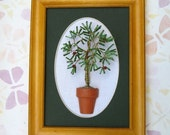 3 D beaded palm tree in frame wall decor