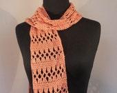 Crochet Lace Scarf, Orange Coral Peach Tangerine, Spring Summer Fashion, Soft Bamboo, Teacher Gift, FREE SHIPPING