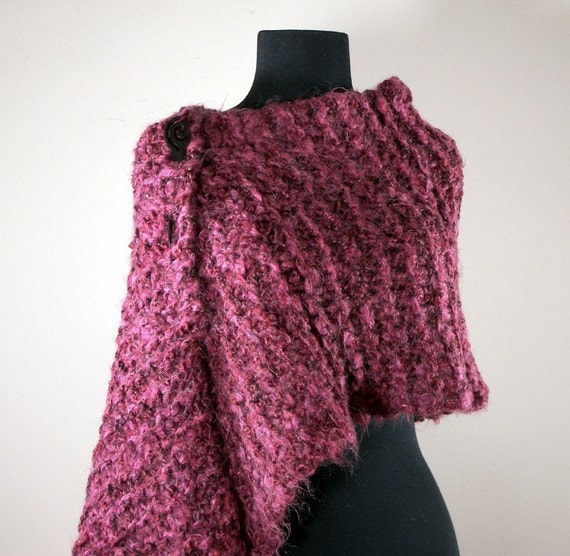Hand Knit Mohair Blend Shawl, Cape, Wrap, Prayer Meditation Shawl, Rose, Raspberry, Deep Pink, FREE SHIPPING