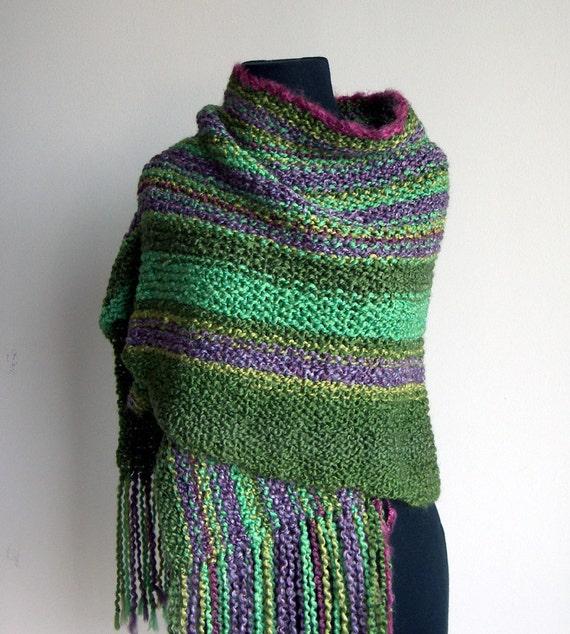 "Reserved 4 ""T"" New Spring Hand Knit Shawl, Prayer Meditation Comfort Shawl, OOAK, Greens, Lavender, Raspberry Trim, w Fringe, FREE Shipping"