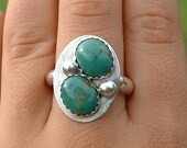 Choctaw Turquoise ring FREE SHIPPING sterling silver 8.5 size eight and a half native american indian made