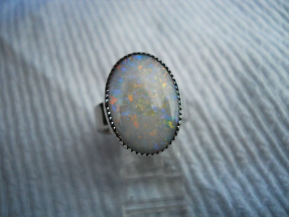 Australian XL Opal Ring size 7 1/4 Sterling Silver  Choctaw Native American Indian made