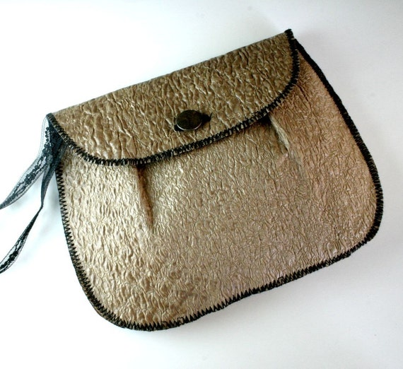 Eco Pleated Grocery Bag Roomy Wristlet or Clutch