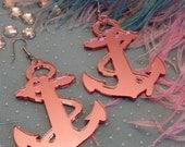 Pink Acrylic Anchor Earrings