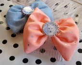 Blue and Apricot Wolves Bow Set