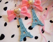 Teal and Pink Eiffel Tower Earrings