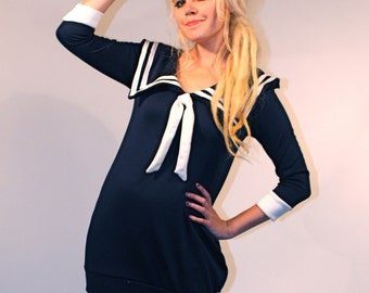 Navy Blue Sailor Dress MADE TO ORDER