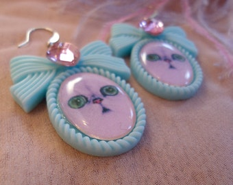 Teal Persian Kitten Small Cameo Earrings