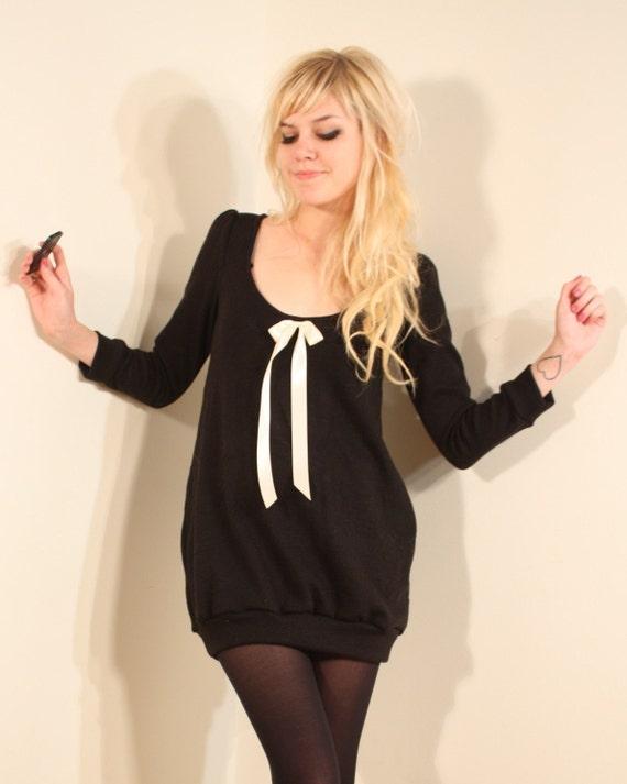 Black Sweater Dress XS S M or L