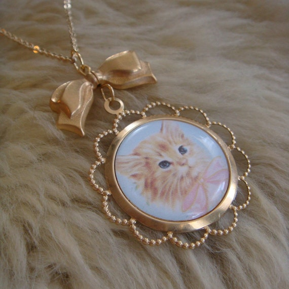 Orange Kitten Cameo Necklace