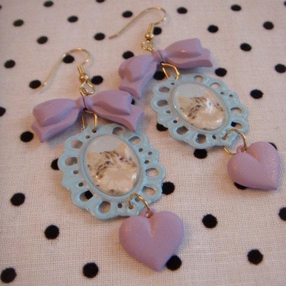 Lilac and Blue Kitten Frame Earrings