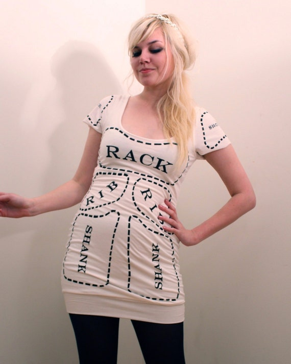 Creme Cuts of Meat dress MADE TO ORDER