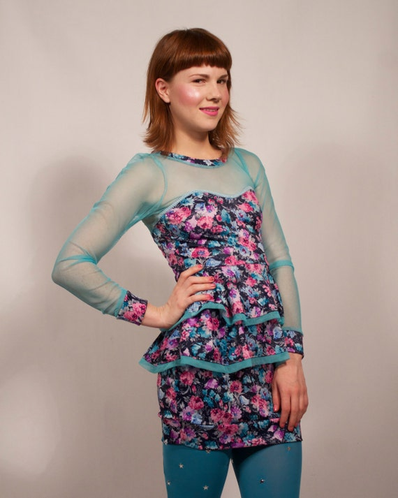 Floral and Teal Sheer Top Ruffle Dress