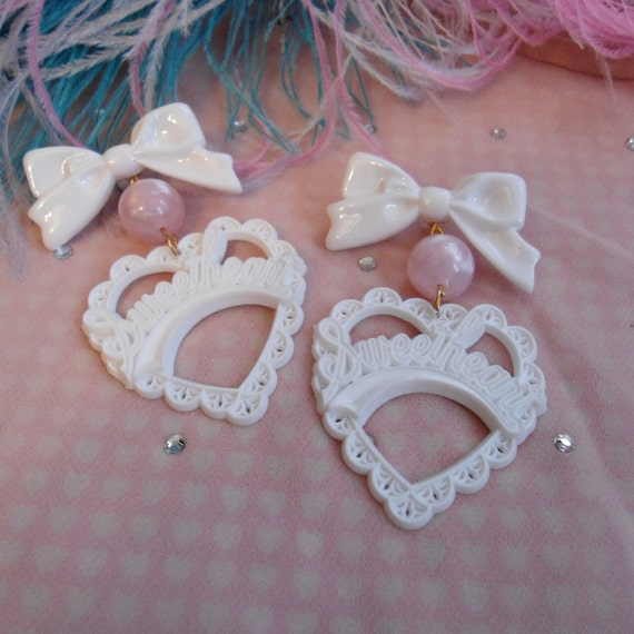 White and Pink Sweetheart Earrings