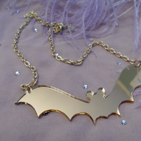 Gold Acrylic Bat Necklace