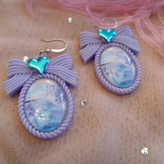 Lilac Wolf Cameo Earrings
