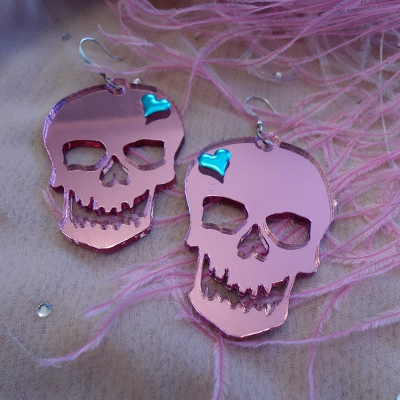 Pink Mirrored Acrylic SKULL Earrings