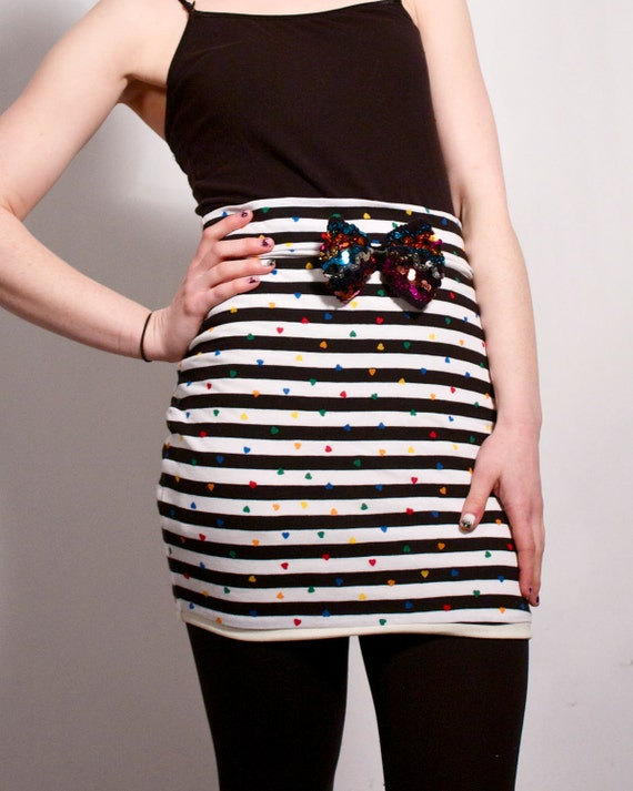 Stripes and Hearts Mini Skirt