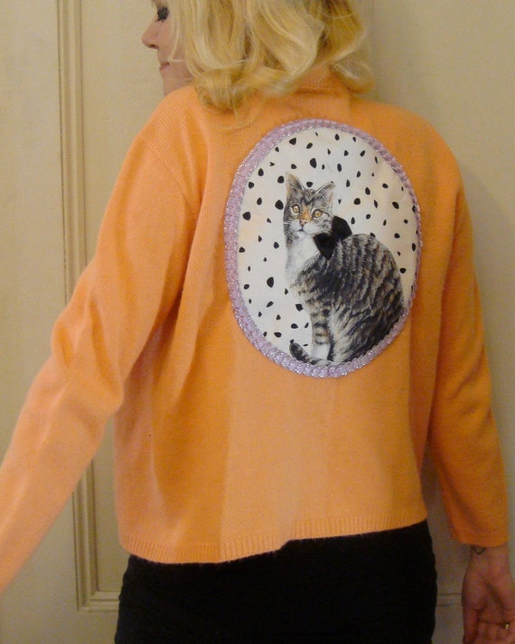 Tangerine Kitty Applique Cardigan