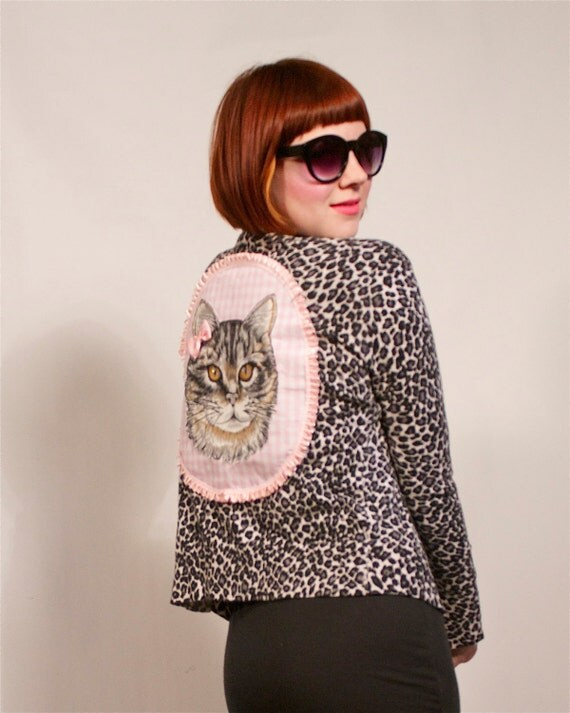 Leopard Print Kitty Applique Cardigan